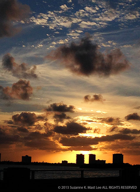Broad Causeway, Bay Harbour Islands, sunset, orange, clouds, water, Biscayne Bay, Miami Beach, FL