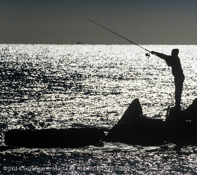 Atlantic Ocean, Backlight, fisherman, fishing, Florida < United States < North America, Haulover Beach, Miami < South Florida, Miami Beach, Outdoor, South Florida, Water