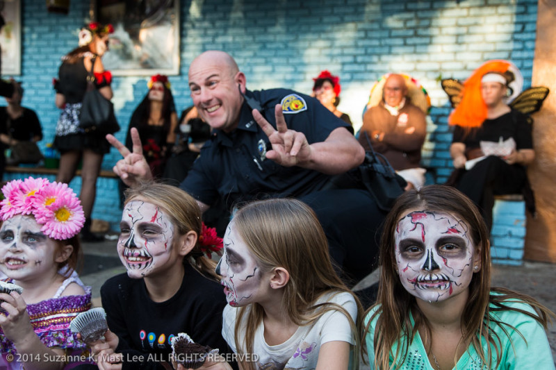 celebrations, costume, Day of the Dead, face paint, Florida < United States < North America, flowers, Fort Lauderdale, HOLIDAY, kids, police officer, South Florida, women
