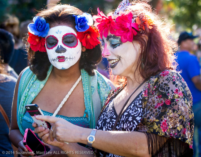 celebrations, costume, Day of the Dead, Florida < United States < North America, flowers, Fort Lauderdale, HOLIDAY, phone, South Florida, woman