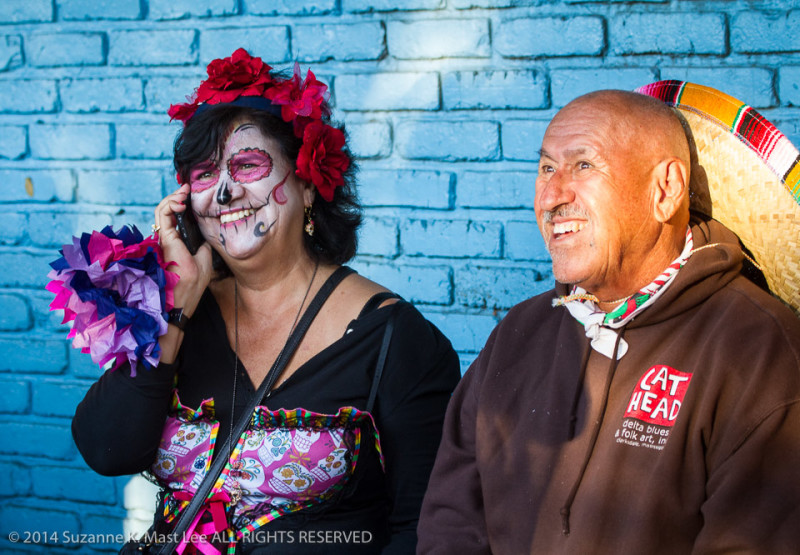 blue wall, celebrations, costume, Day of the Dead, face paint, Florida < United States < North America, flower, Fort Lauderdale, HOLIDAY, phone, South Florida