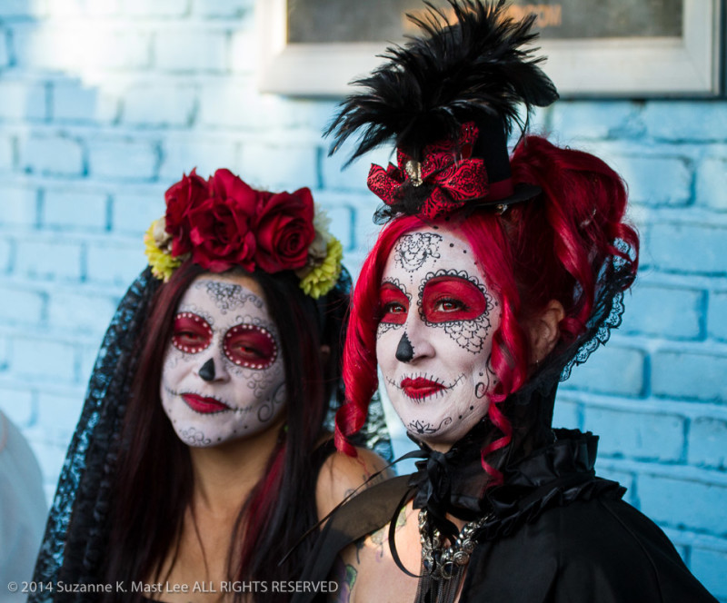 blue wall, celebrations, costume, Day of the Dead, face paint, Florida < United States < North America, Fort Lauderdale, HOLIDAY, South Florida, women