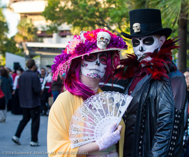 boa, celebrations, costume, Day of the Dead, face paint, Florida < United States < North America, flowers, Fort Lauderdale, HOLIDAY, pose, skeleton, South Florida