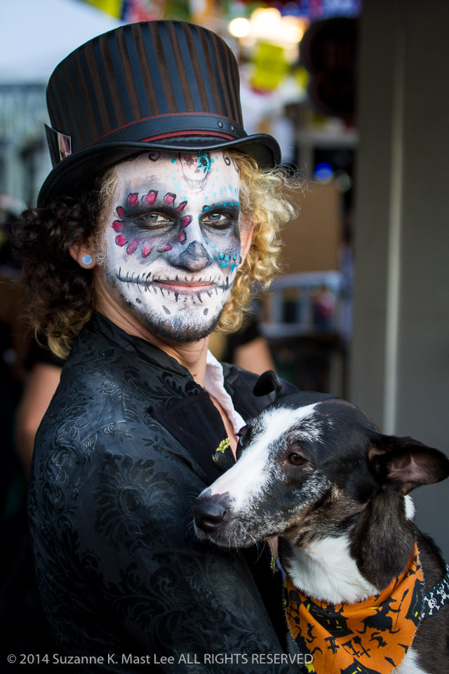 celebrations, costume, Day of the Dead, dog, face paint, Florida < United States < North America, Fort Lauderdale, HOLIDAY, Logan Gioello, South Florida, top hat